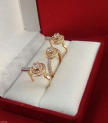 Комлект из красного золота 585 проба. с цирконами. размер кольца 17. 0 в Бишкек