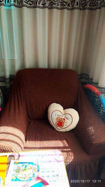 Диван раскладной и два кресла с турецкими чехлами,под чехлами