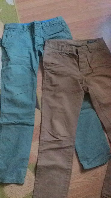 Muske pantalone nosene jako lepe i moderne maslinaste i oker boje vel - Prokuplje