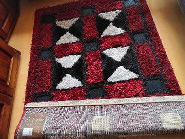 Kućni dekor - Sabac: Reljefni čupavi tepih tkan različitim vrstama niti. 1.7x1.2m.Saljem