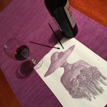 Devojka - Srbija: Devojka sa sesirom. Tehnika vinorel (slikano vinom)