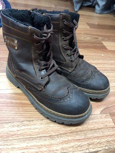 Продается детская обувь Коричневые кожаные ботинки35 размерНосили 1