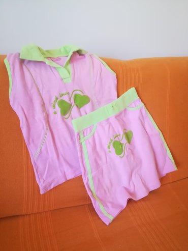 Kvalitetan pamučni kompletić suknja+majica sa kragnom vel 176