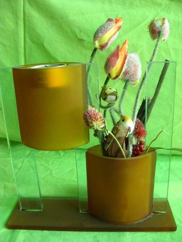 Подсвечники - Кыргызстан: Подсвечник с вазой. Красивый! Новый! Стекло!