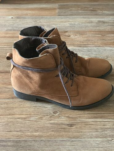 Коричневые ботинки натуральная замша размер 39