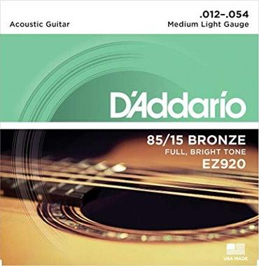 D'Addario akustik gitara uchun 1 dest sim Model: EZ 920