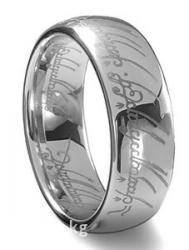 чёрное кольцо из вольфрама в Кыргызстан: Кольцо всевластия из вольфрама с лазерной гравировкой