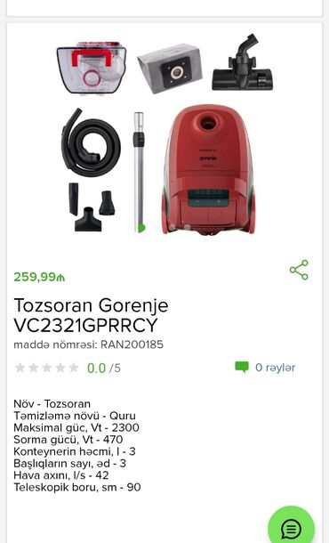 Tozsoran GorenjeTam zəmanətləNəğd və 1 kartla ödənişEvdən birbaşa