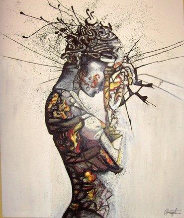 Slika `Razmatranje` radjena je uljem na platnu, dimenzije 60 x 50 cm, - Belgrade