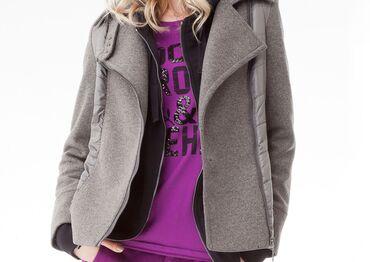 Markirana kozna jakna - Srbija: Prodajem DEHA jaknu u kombinaciji vune i štepanog poliestera. Nošena
