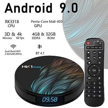 smart tv box - Azərbaycan: Tv box android smart tv box tuneroriginal Hk1 max 4k 4/32gb android