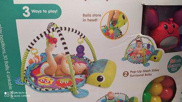детские игрушки 3 в Кыргызстан: Детский коврик 0+ в комплект к 4 мягких икрушек подвесных, 30 мягких