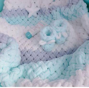 сумку для выписку в Кыргызстан: Плюшевый плед лучший подарок на рождение малыша. Связан из