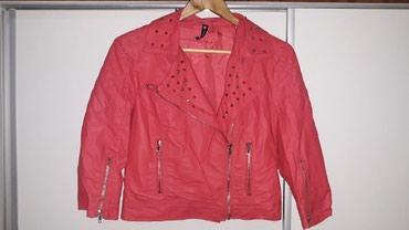 Crvena kožna (veštačka) jakna , broj L, obučena svega jednom. - Nis