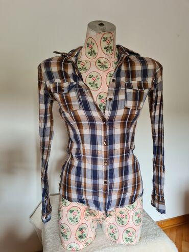 Teranova košulja, S veličina, karirana, braon boja