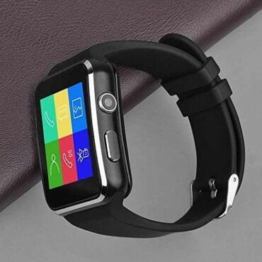 "X6 Black Smart Watch 2019"" X6 Black smartfon saatlar "" Global"