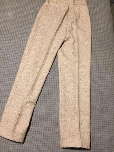 Tweed μάλλινο παντελόνι Νο 44 . Μπεζ . Καινούργιο