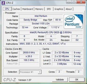 Intel Pentium G620 2.6GHz за 600 сом в Кочкор