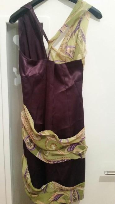 Satenska haljina sa - Srbija: Haljina ljubicasta sa svetlo zelenim sarenim muslinom. Uz haljinu ide