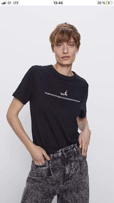 Женская футболка ZARA, в наличии размеры: S, M, ткань: 100%хлопок