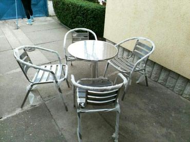 Metalne stolice plastificirane 1950din kom aluminijumski sto okrugli - Novi Sad