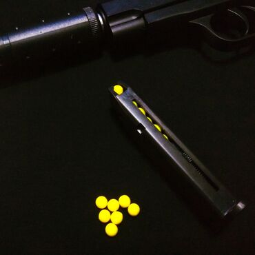 Пистолет браунинг детский, спринговый с глушителем, металл. K17aкорпус