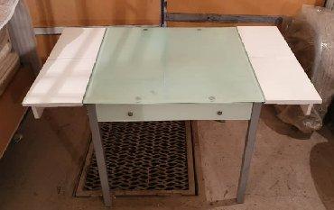 стол стеклянный в Кыргызстан: Стол обеденный раздвижной со стеклянной столешницей