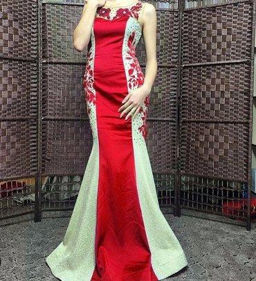 Шикарное вечернее платье.Красный атлас, по бокам золотая плотная в Бишкек