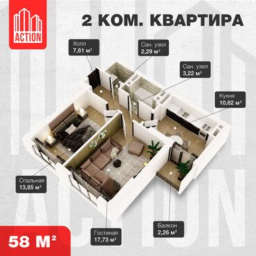 продаю квартира бишкек в Кыргызстан: Строится, Индивидуалка, 2 комнаты, 57 кв. м