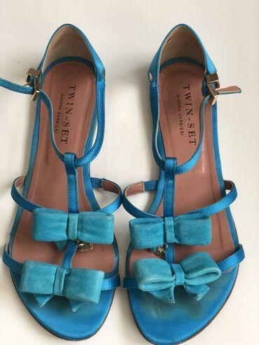 Personalni proizvodi - Srbija: Twin Set sandale, original, u tirkizno plavoj boji. Nosene veoma malo