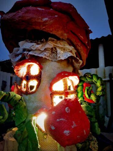 Светильник ручной работы сказочный дом гриб