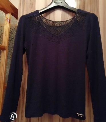 трикотажная рубашка в Кыргызстан: Трикотажная кофта тёмно-синего цвета. Турция. Emkina. Местоположение в