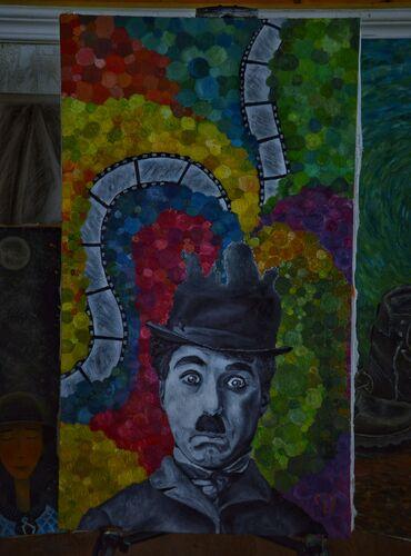"""Ev və bağ Şəmkirda: Kompozisiya """"Çarlinin bəxşi"""" Ölçüsü 40x70 Kətan üzərində yaglı boya"""
