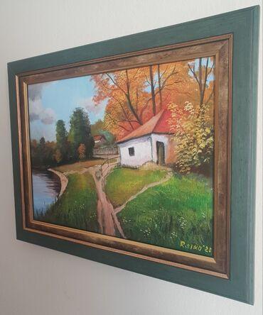 Original ulje na platnu - Kuca kraj jezeraPrelepo umetnicko delo