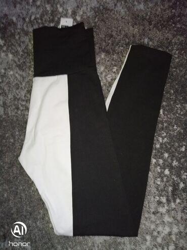 Crno bele pamucne helanke visoki struk mada moze i da se podvrne u