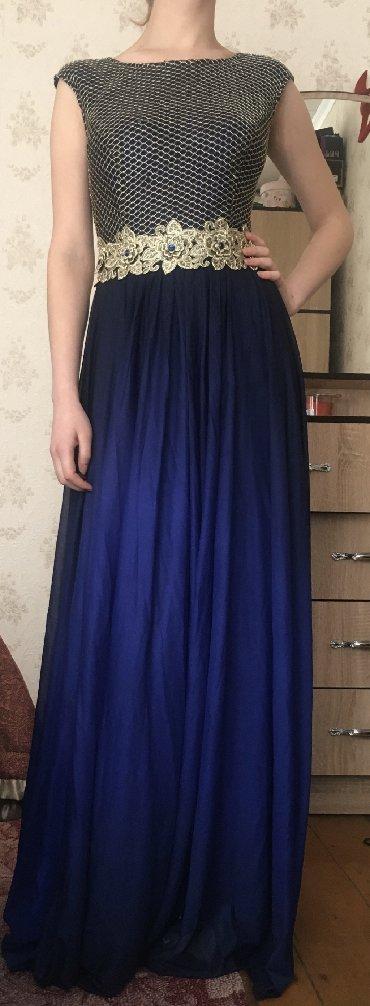 синее вечернее платье в Кыргызстан: Вечернее платье с красивым переходом синего в чёрный. Очень богато смо