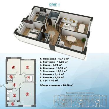 Продается квартира: Аламедин 1, 3 комнаты, 70 кв. м