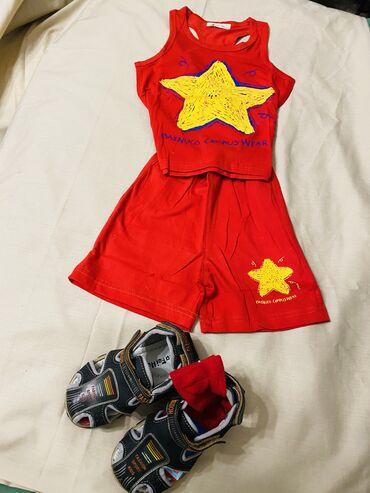 мужские шорты в Кыргызстан: Летний комплект: шорты и майка, красного цвета с запоминающейся