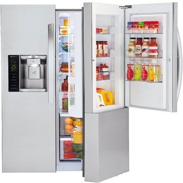 "LG LSXS26366S Side-by-Side Refrigerator - 35.9"" - 26.1 cu ft -"