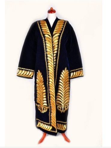 черная длинная футболка мужская в Кыргызстан: Узбекский мужской чапан + допа, размер 48-50