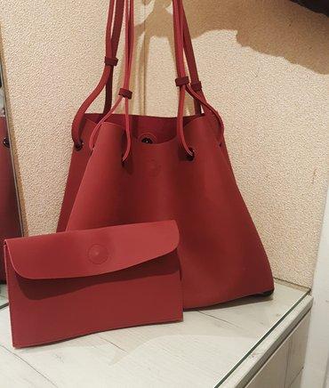 Стильные сумки в 4-х цветах с клатчем. бордо. рыжий. серый. черный. в Бишкек