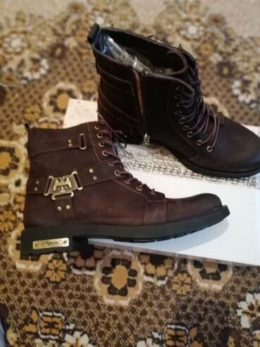 коричневые мужские мокасины в Кыргызстан: Демисезонные ботинки 42 размера, мужские натураная кожа, новые, Тур