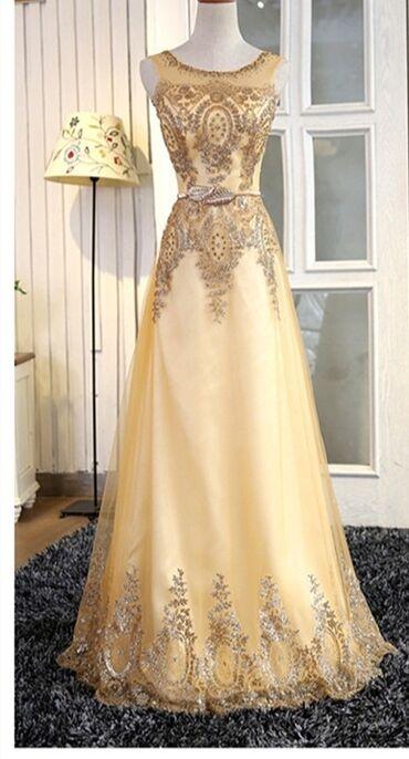 вечернее платье больших размеров в Кыргызстан: Продаю красивое вечернее платье золотистого цвета размер 44 состояние