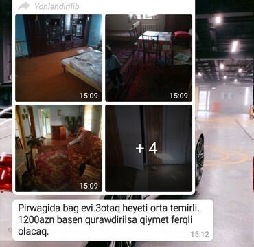 Kirayə Evlər vasitəçidən Uzunmüddətli: 1 kv. m, 3 otaqlı