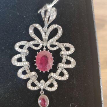 Антикварная золотая подвеска кулон с алмазами и с натуральным рубинами