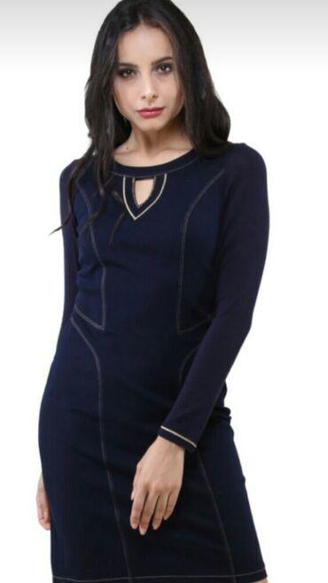 Платье Турция .фирма Dodona.размер 46,миди,темно синий джинс