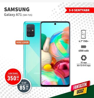 Samung - Azərbaycan: Samung a71 telefon kreditle ilkin odeniw 350 manat - 12 ay -85