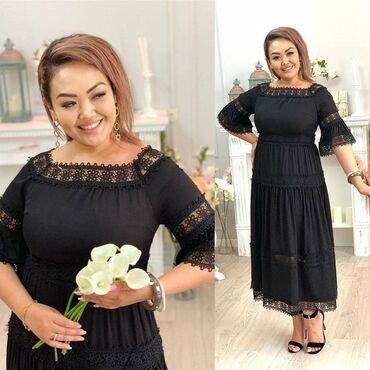 Платье элегантное ярусноеС кружевом ручной работыРазмеры 50-56Доставка