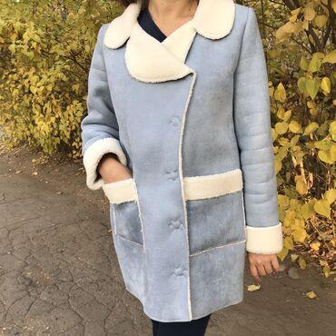 женская пальто в Кыргызстан: Очень стильное голубенькое пальто очень тёплое и уютное сшила на з
