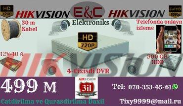 Bakı şəhərində Hikvision tehlukesizlik kameralari 3 il zemanetle...
